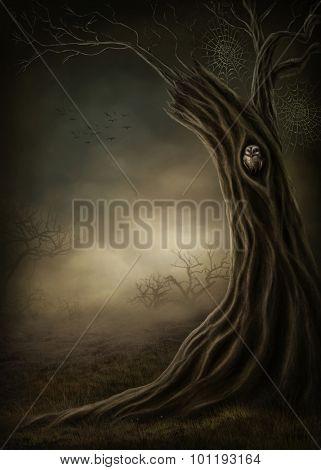 Fantasy tree in the dark forest