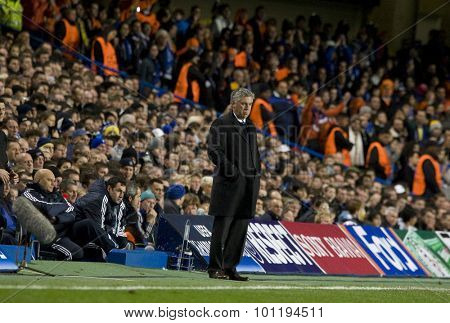 LONDON, ENGLAND. 08 December 2009. - Carlo Ancelotti the manager of Chelsea  during the Uefa Champions League match, between Chelsea and Apoel Nicosia at Stamford Bridge.