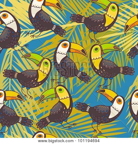 Toucans and palm leaves