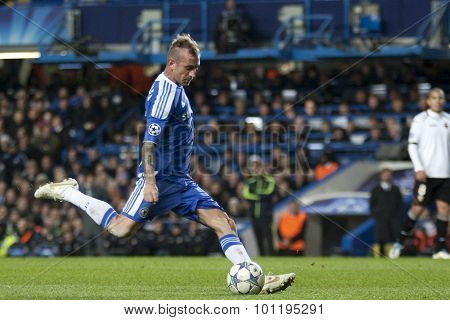 LONDON, ENGLAND. 06 DECEMBER 2011. Chelsea's Portuguese midfielder Raul Meireles in action during the UEFA Champions League match between Chelsea and Valencia from Spain, played at Stamford Bridge.
