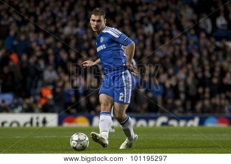 LONDON, ENGLAND. 06 DECEMBER 2011. Chelsea's Serbian defender Branislav Ivanovic in action during the UEFA Champions League match between Chelsea and Valencia from Spain, played at Stamford Bridge.