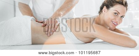 Businesswoman During Massage Therapy