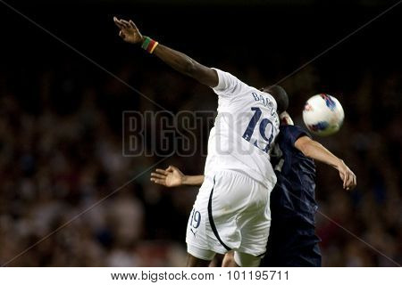 LONDON ENGLAND 25 August 2011. Tottenham's Sebastien Bassong in action during the UEFA Europa league match between Tottenham Hotspurs  and Hearts. Played at White Hart Lane.