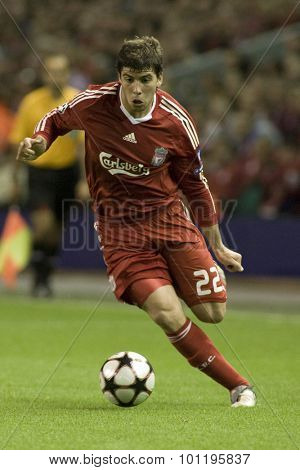 LIVERPOOL ENGLAND. 16 SEPTEMBER 2009. Emiliano Insua playing for Liverpool runs with the ball in the Champions League Group E, match between Liverpool FC and Debreceni VSC at Anfield.