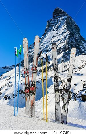 Matterhorn, Switzerland, winter season - ski equipments on ski run