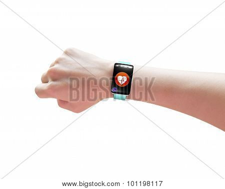Female Hand Wearing Smart Watch With Health Sensor