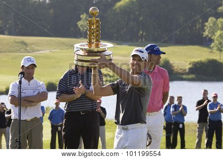 KENT ENGLAND, 31 MAY 2009. Christian CEVAER (FRA) with the trophy for winning the European Tour European Open golf tournament.