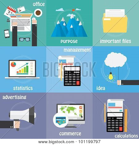 Flat icon Mega color collection business, economic and financial icon