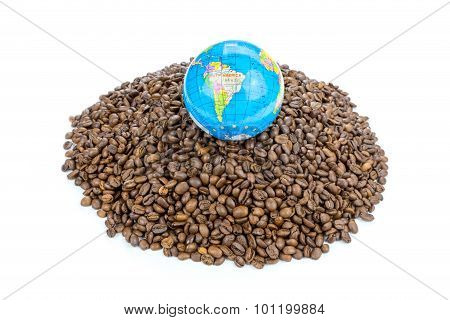 Globe With World On Heap Of Whole Coffee Beans