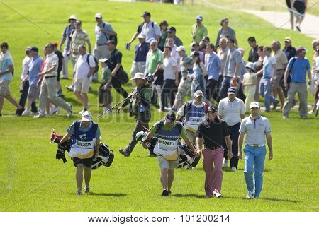 KENT ENGLAND, 29 MAY 2009. Graeme MCDOWELL (GBR) pink trousers Oliver Wilson (GBR) Blue trousers and Ben CURTIS (USA) playing in the second round of the European Tour European Open golf tournament.