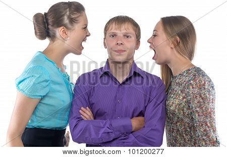 Man and two screaming women
