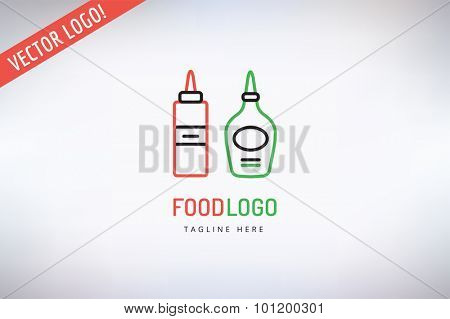Outdoor travel logo. BBQ and Food Icon. Travel vector logo icon. Outdoor, Adventure, Grilled food, Kitchen, Meat, Kebab, Food logo, Restaurant outdoor logo. Two bottle silhouette. Food and drink