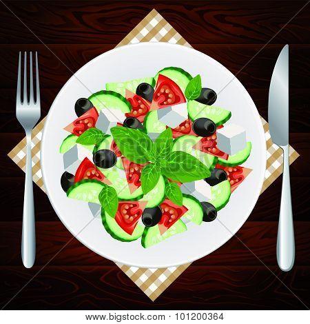 Plate Fork Knife Diet Salad Greek Feta Basil Olives