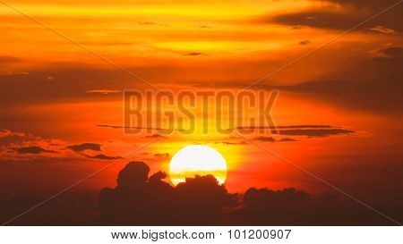 Siluette Of Sunset At Chonburi,thailand In Summer