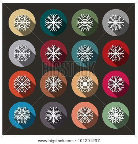 Icons Of Snowflakes, Vector Illustration.