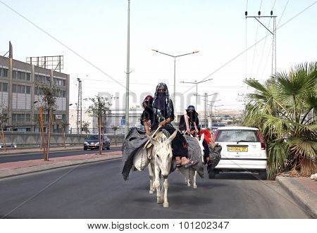 Bedouin Woman Riding On Donkeys