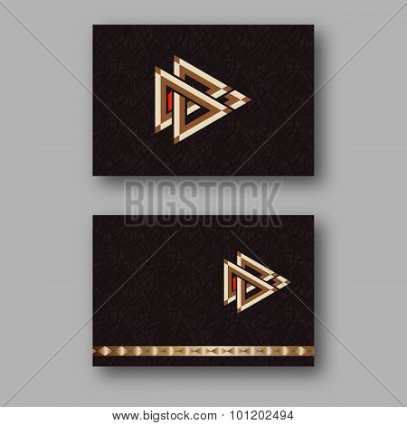 Design Template Business Card With Geometric Logo Of Interlocking Triangles.