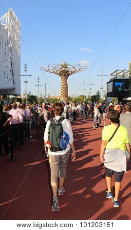 Milan, Italy - 8Th September, 2015. Expo Milano 2015. Tree Of Life With People