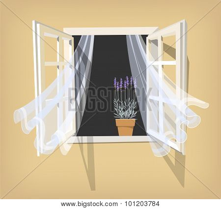 Open window with lavender