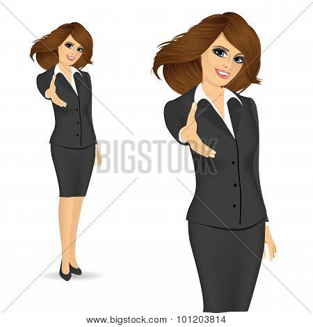 businesswoman giving a hand for handshake