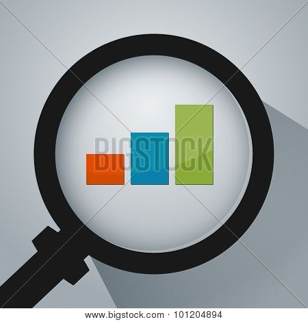 An image of a business analysis with magnifying glass icon.
