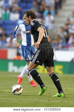 BARCELONA - MAY, 2015: Gareth Bale of Real Madrid during a Spanish League match against RCD Espanyol at the Power8 stadium on Maig 17 2015 in Barcelona Spain