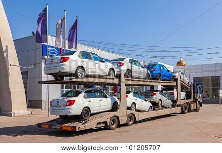 Truck Brought New Cars To Car Showroom Datsun In Samara, Russia