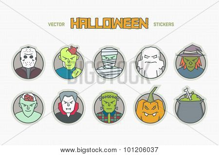 Vector line halloween icons.