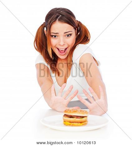 Portrait Of Emotional Woman With Burger