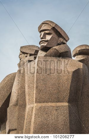 Soviet Era Monument For The Latvian Riflemen. Latvian Riflemen Were A Formation Of The Imperial Russ