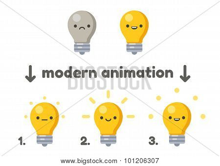 Cute Lightbulb With Animation
