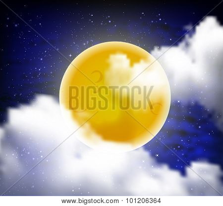 Full Moon With Clouds At Night Starry Sky