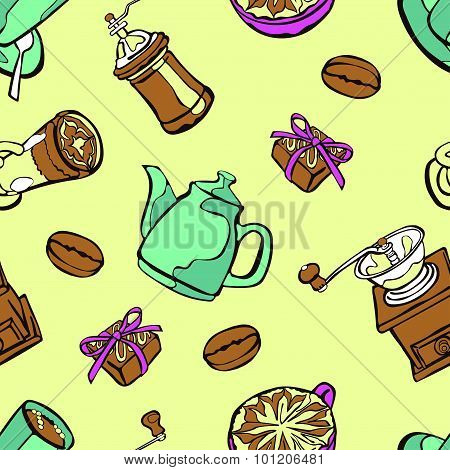 Coffee background. Vector seamless illustration: coffee pot, coffee cup, coffee grinder.