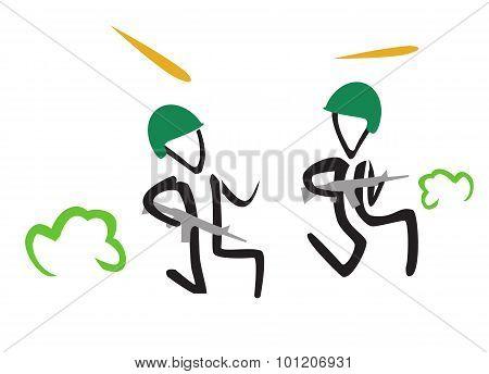 simple illustration of running stick soldier in war