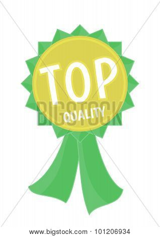 Top quality gold and green ribbon simple flat illustration