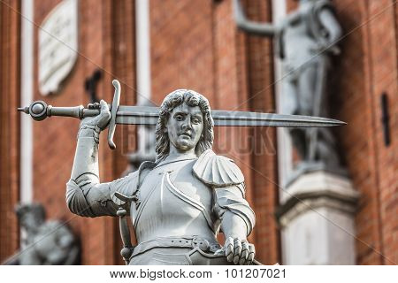 Boy With The Sword And Dragon; An Architectural Detail Of The House Of Blackheads, Riga, Latvia