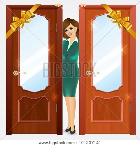 entrance wooden doors on a white background