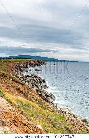 The rocky shoreline of Cape Breton Island