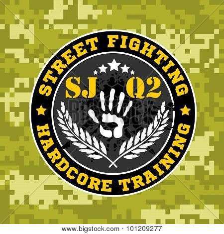 Street fighting emblem with military elements on camouflage background.