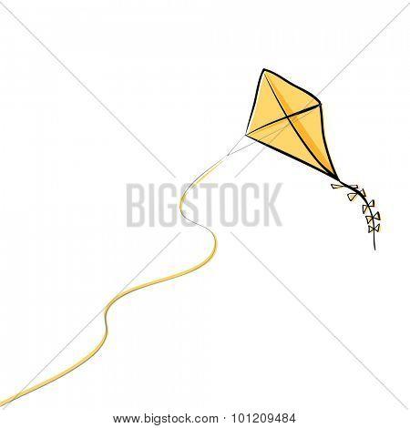 Flying kite, vector illustration