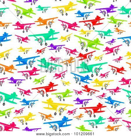 Colorful Airplanes Pattern