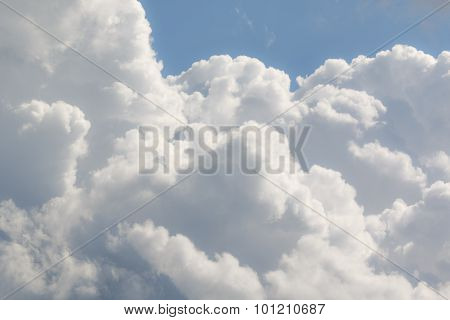 Robust white and gray clouds with blue sky