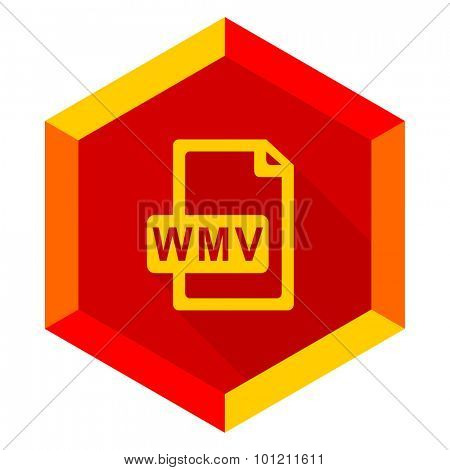 wmv file flat design modern icon with long shadow for web and mobile app
