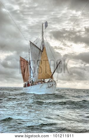 Traditional Britton sailing ship on a gray day