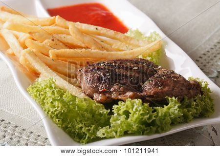 Grilled Beefsteak With French Fries And Sauce Macro. Horizontal