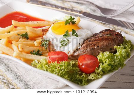 Fried Potatoes, Egg, Grilled Beefsteak With Ketchup. Horizontal