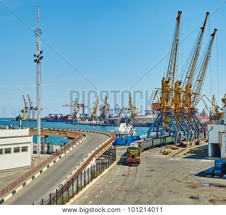 Cargo Ships, Trains And Cranes