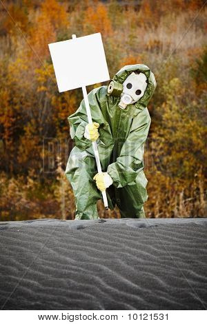 Scientist In Gas Mask With Poster