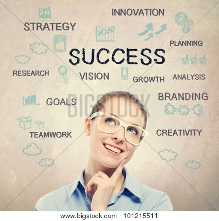 Success Strategy Diagram With Beautiful Young Business Woman