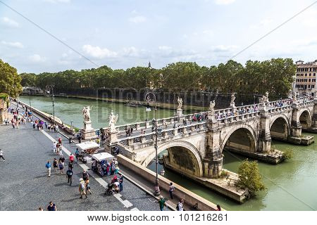 Sant Angelo's Bridge In Rome